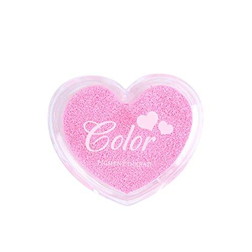 Deofficially Sellos de tampones de tinta para dedos artesanales Colores de caramelo Diseño en forma de corazón Huella digital de tinta para tarjetas de bricolaje Scrapbooking Fabricación de tarjetas