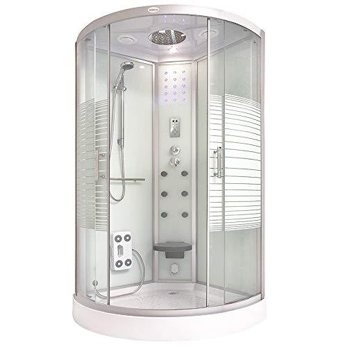 Home Deluxe - Dampfdusche 100x100 - Komplettdusche White Pearl mit Regendusche | Duschtempel, Fertigdusche, Dusche, Duschkabine Komplett