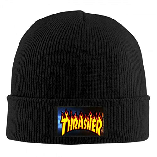 Trendy Top store Thrasher-Flame Logo Invierno Gorro de Lana Bufanda Conjunto de Gorro de Punto cálido Gorro de Punto Grueso de Calavera para Hombres