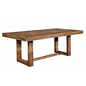 Set includes: One (1) dining table Materials: Acacia and MDF Finish Color: Wired brush nutmeg Assembly Required: YES Weight limit: 300 lbs Table top edge profile: True square Base with leveler
