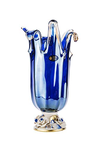16-Inch Murano Glass Footed Vase Decorative Centerpiece, Vintage Design Crystal Wedding Gift with Capodimonte Porcelain Flowers (Blue, 1208)