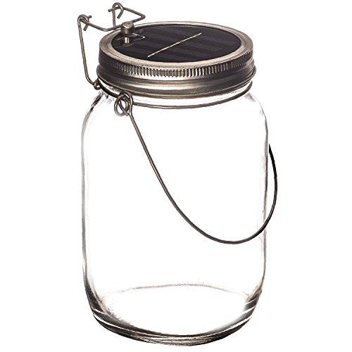 Lámpara solar LED en bote de cristal colgante de Trendario; ideal como luz para jardín, iluminación extralarga