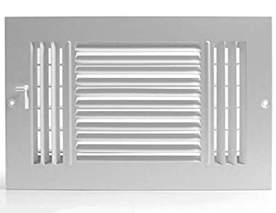 "8""w X 4""h 3-Way AIR Supply Grille - Vent Cover & Diffuser - Flat Stamped Face - White [Outer Dimensions: 9.75""w X 5.75""h]"