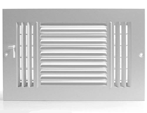 8w X 4h 3-Way AIR Supply Grille - Vent Cover & Diffuser - Flat Stamped Face - White [Outer Dimensions: 9.75w X 5.75h]
