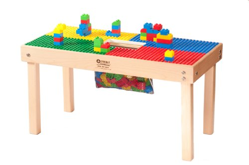 Heavy Duty DUPLO Compatible Table with Built-in Lego Storage(Patent)-32' x16'-Made in USA!- PREASSEMBLED-Premium Series with Solid Hardwood Legs and Frames-Ages 1 to 5