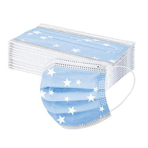 30 Piezas Adulto Estrella 3D Azul_Mascarillas, 3 Capas tela no tejida_Máscara, wuayi Estéreo Hermosa Elegante Exquisita Impresión, Cómodo Respirable Ajustable Durable, por Deportes Ocio Mujer Dama