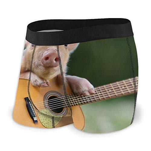 Adamitt Piggy Playing Guitar Men 'S Boxershorts Regelmäßige weiche, atmungsaktive, Bequeme Unterwäsche