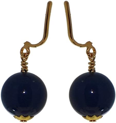 LINDSEY 12mm Gold Plated Dark Lapis Clip On Earrings