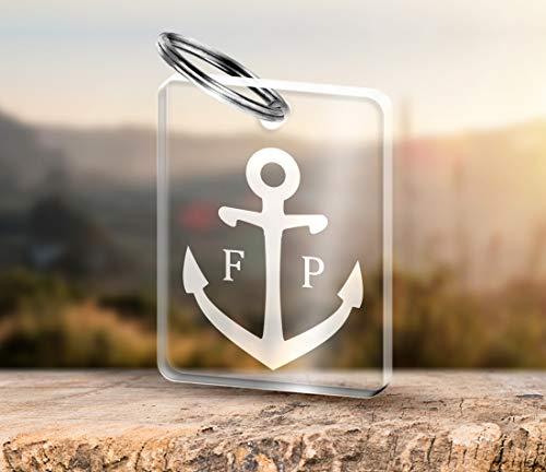 CHRISCK design Acrylglas Schlüsselanhänger mit Gravur Anker + Initialen aus massivem Acrylglas schöne Geschenkidee für Partner, tolles Geschenk für Freunde und Beste Freundin