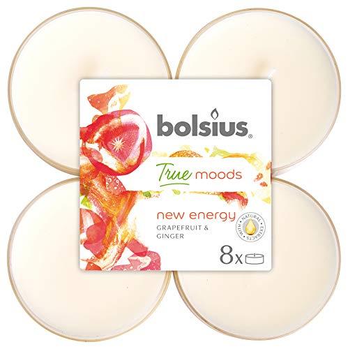Bolsius 8 Tealights Maxi in Cup Trasparente, +/- 8 h, Colore Bianco, Fragranza New Energy (Pompelmo e Zenzero), True Moods