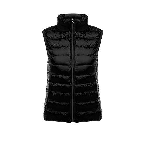 CHIYEEE Packbar Damen Daunenweste Jacke Gilet Puffer Coat Ultraleichter Zip Up Puffer Coat Pufferjacke Schwarz M
