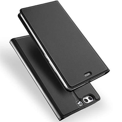 Verco Handyhülle für P10, Premium Handy Flip Cover für Huawei P10 Hülle [integr. Magnet] Book Case PU Leder Tasche, Schwarz