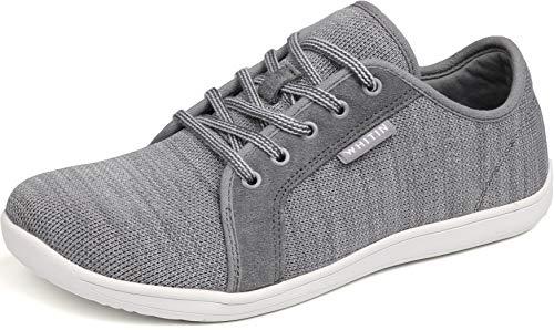 WHITIN Zapatillas Minimalista de Barefoot Trail Running Deportes Deportivas para Hombre Mujer Tejer Zapato Descalzo Correr Sneakers Fitness Gimnasio Calzado Asfalto Tenis Gris 43