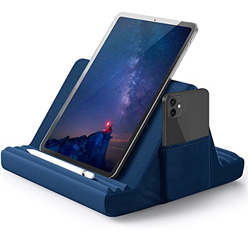 Tablet Pillow Stand, Pillow Soft Pad for Lap, Tablet Stand Pillow for iPad, Multi-Angle Soft Pillow Lap Stand for iPads, Tablets, eReaders, Smartphones, Books, & Magazines (Blue)