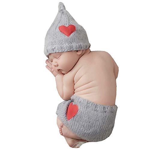 puseky 2pcs Newborn Baby Love Heart Knit Crochet Cap + Shorts Trajes Set para accesorios de fotografía (Color : Light Grey, Size : 0-3M)