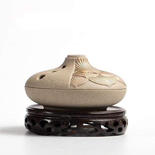 癒し香炉 丸香炉 お線香立て お香立て付き 蓋 香皿 陶器 金蓮 渦巻線香用聞香炉 香道 茶道 仏壇用