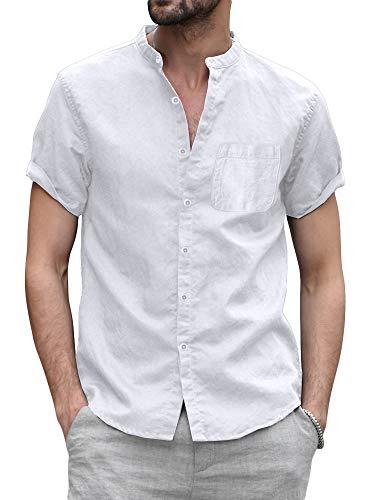 Gemijacka Kurzarm Leinenhemd Herren Leicht Sommerhemd mit Brusttasche Kragenloses Freizeithemd Slim Fit Shortsleeve Men Shirt Weiß XXL