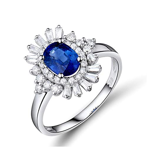 Beydodo Anillo de Compromiso Mujer,Anillo de Mujer Oro Blanco 18K Plata Azul Oval Flor Zafiro Azul 1ct Diamante 0.4ct Talla 23,5(Circuferencia 63MM)