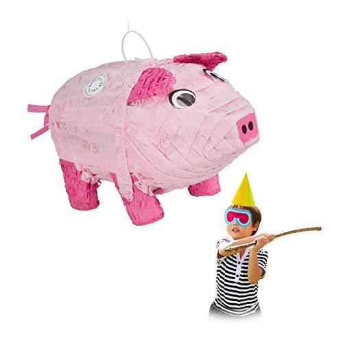 Relaxdays 10031487 Pinata Schwein, zum Aufhängen, Kinder, Mädchen & Jungs, Geburtstag, zum Befüllen, Papier, Tier Pinata, rosa