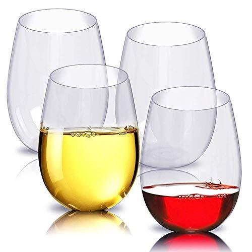 mimiliy Vino Glasse Rojo 4 unids/Set Vino Copa de Vino Frasco Plastic Plastic Unridance Red Tumbler Glasses Tazas Reutilizable Transparente Fruta Jugo Cerveza Copa de Café (Color: 4pcs)