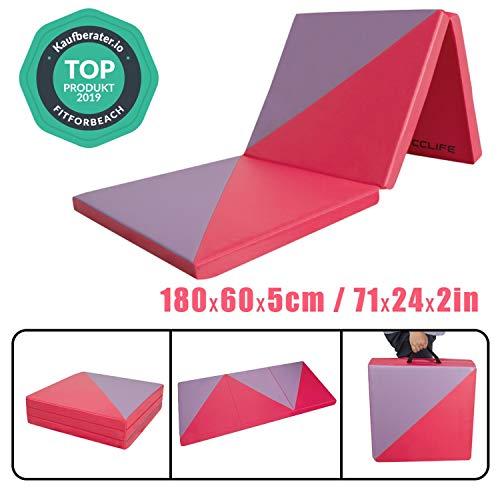 CCLIFE 180x60x5 Klappbare Weichbodenmatte Turnmatte Fitnessmatte Gymnastikmatte rutschfeste Sportmatte Spielmatte, Farbe:3 Elemente, Rot&Lila