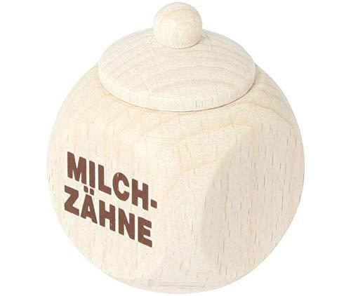 Melktanddoos - houder - van hout - met muts als deksel - perfect als klein geschenk Met opdruk