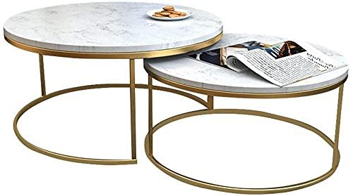 Muebles de oficina para el hogar Muebles de lujo de mármol Muebles modernos Decoración de mesa de ocio Nescando Tablas de café para sala de estar Balcón Inicio y oficina, Oro y Blanco Mesa auxiliar