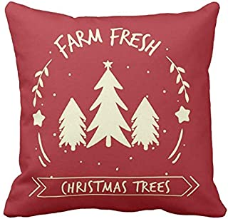 Kissenday 18X18 Inch Farm Fresh Christmas Trees Holiday Festival Saying Cotton Polyester Decorative Home Decor Sofa Couch Desk Chair Bed Car Birthday Housewarming Gift Square Soft Throw Pillow Case