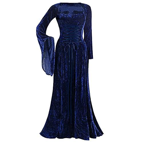 Xisimei Vestido medieval para mujer, vestido de renacentista irlands, vestido largo, marine, XXXXL