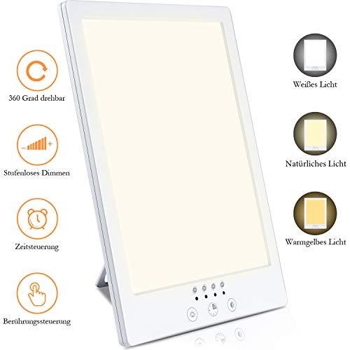 Aikzik Tageslichtlampe, 10000 Lux Tageslichtleuchte UV freie LED Lichttherapielampe, mit 3 einstellbare Helligkeitsstufen Lichttherapie mit Multi Winkel Ständer mit Timer-Funktion Touch-Steuerung