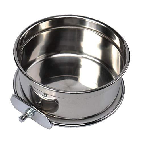 Hiinice 1pc Colgantes De Acero Inoxidable Food Bowl Alimentación De Aves Alimentador del Agua del Plato De Suministros Loro Cacatúas De Plata para Mascotas
