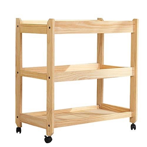JINYANG JY Multifunktionaler Wickeltisch für Babykleidung mit Rollregal Sicherheitsgurt aus massivem Holz Tragkraft 80 KG