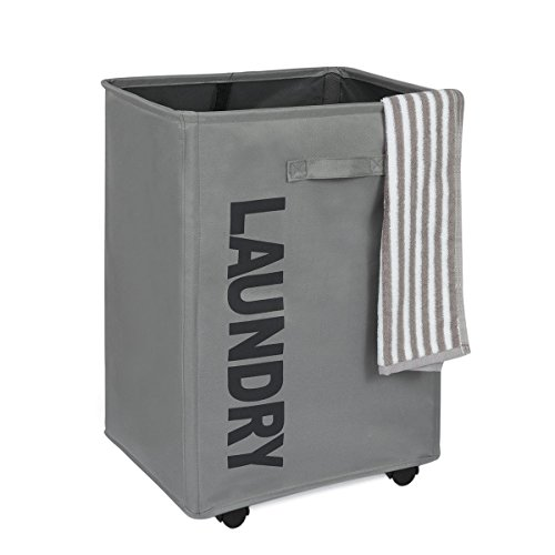 WOWLIVE Large Rolling Laundry Basket Foldable Rectangular Tall Laundry Hamper...