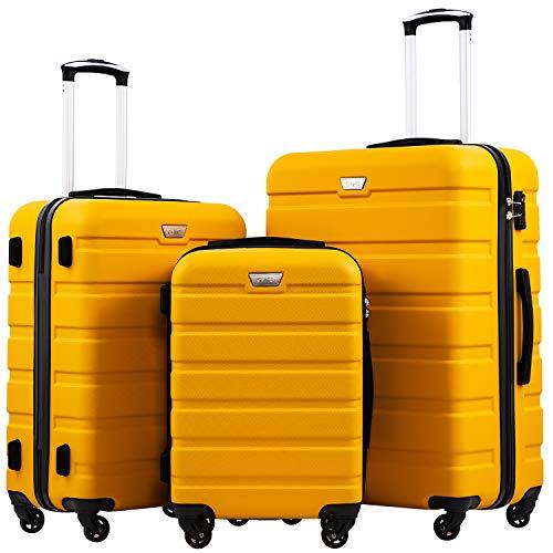 COOLIFE Hartschalen-Koffer Trolley Rollkoffer Reisekoffer mit TSA-Schloss und 4 Rollen (Gelb, Koffer-Set)