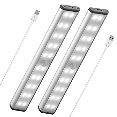 Stick-On Anywhere Portable Closet Lights Wireless 20 Led Under Cabinet Lighting Motion Sensor Activated Build In Rechargeable Battery Magnetic Little Safe Night Tap Light for Closet Cabinet (Silver)