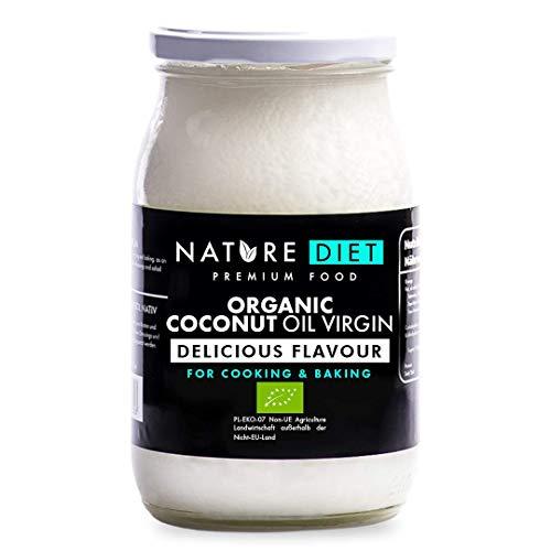 Nature Diet - Olio Vergine di Cocco Biologico 900 ml   Spremuto a freddo   Non raffinato   Vegano   Barattolo di vetro