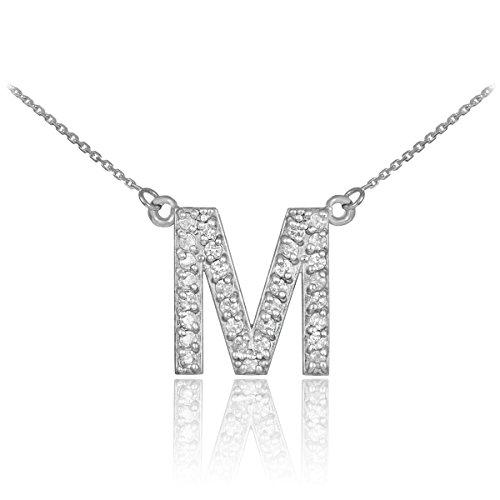 Little Treasures - 14 ct White Gold Letter 'M' Diamond Initial Monogram Necklace