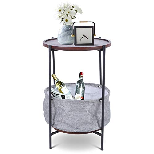 Greensen Nachttisch Runder Beistelltisch mit Stoff Ablagekorb Sofatisch Telefon Tisch Kleiner Couchtisch Vintage Akzenttisch für Kleine Räume Wohnzimmer Schlafzimmer