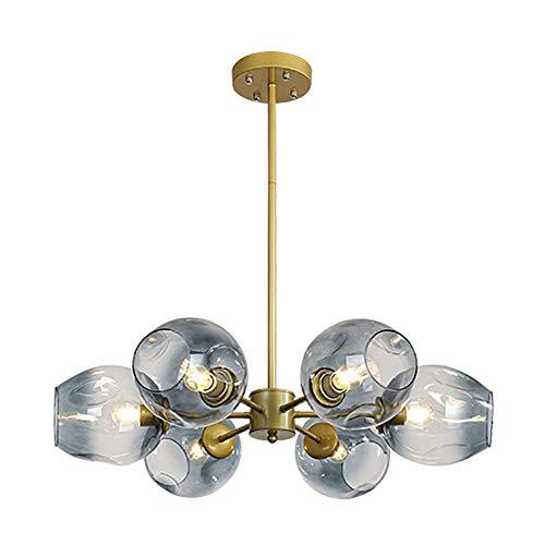 miwaimao Candelabro de araña moderna nórdica Sputnik, lámpara de techo E27, lámpara de araña de mediados de siglo, esfera de cristal soplado a mano, color gris, 6 luces, azul