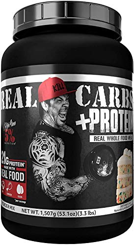 Rich Piana 5% Nutrition Real Carbs + Protein   Real Food Meal Replacement + Animal Protein   Lean Muscle Mass Gainer, Complex Carbohydrates, Workout Recovery   53.1 oz, 22 Srvgs (Birthday Cake)