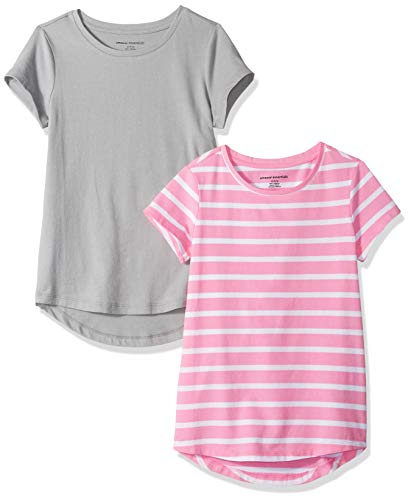 Amazon Essentials Mädchen Tunika, 2er-Pack, Stripe/Grey, US XS (EU 104-110 CM)