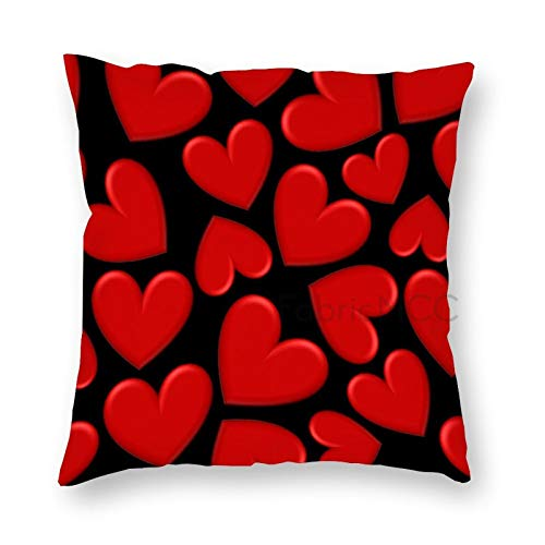 JamirtyRoy1 12 x 12 Inch Pillow Case, Red Puffy Hearts Decorative Throw Pillow Cover Cushion Case
