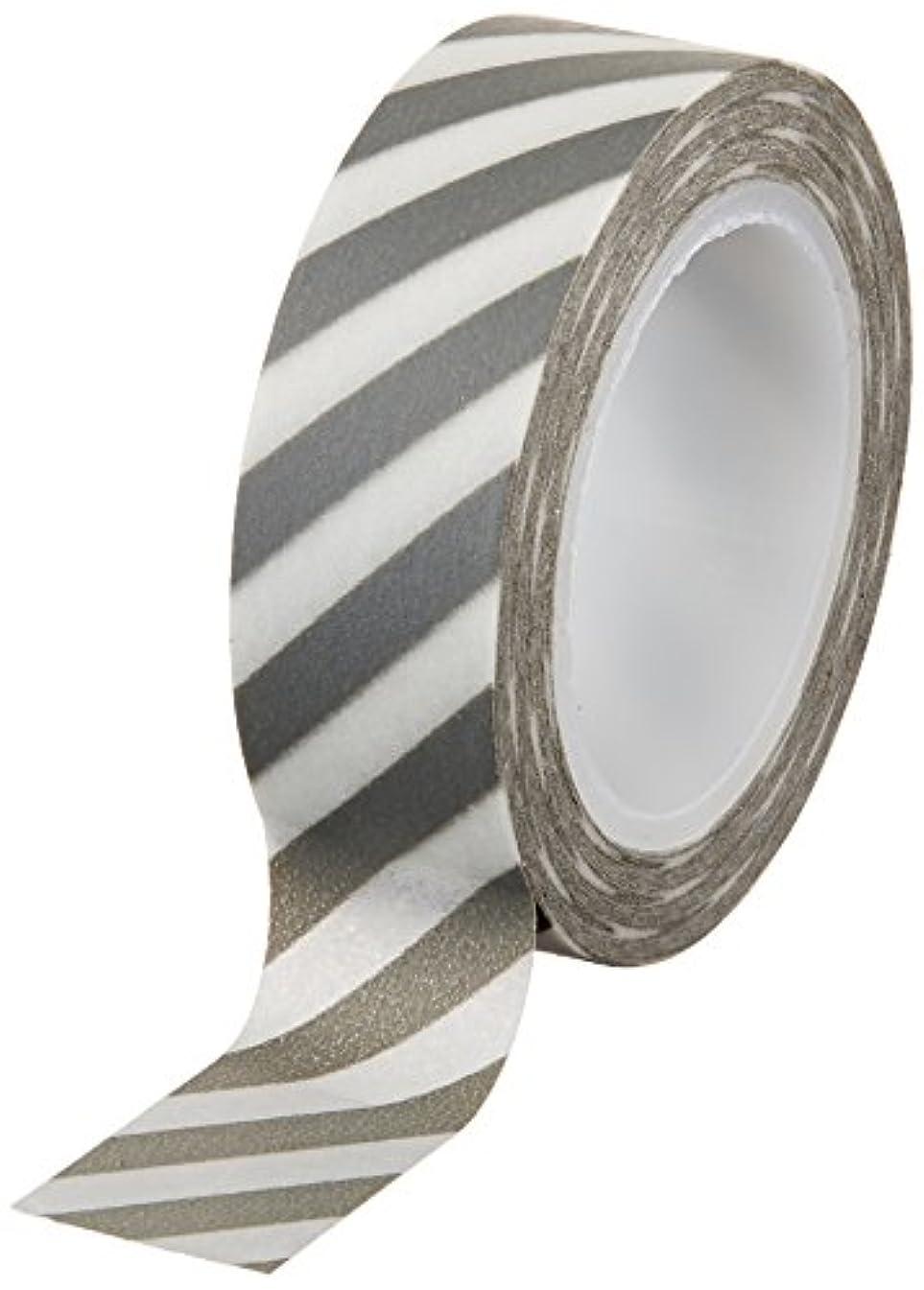 Wrapables Striped Japanese Washi Masking Tape, Diagonal Grey Stripe
