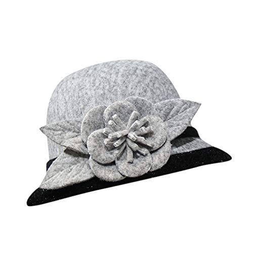 SKays Damen Eleganter Eimer Hüte mit Blumenapplikation,Klassisch Bowler Hut Winterhut für Hochzeit Kirche Party (Grau,56-58cm)