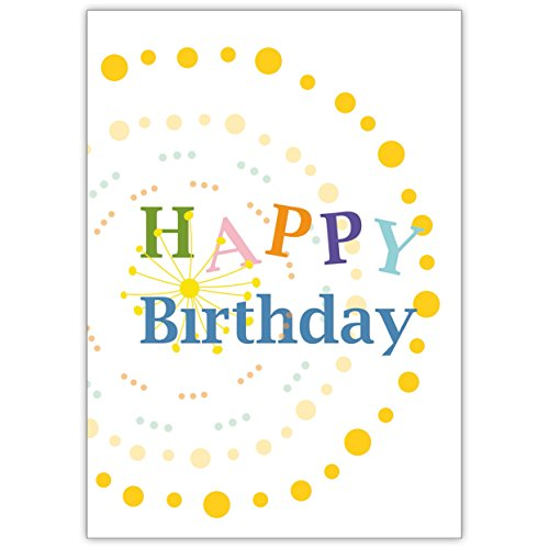 In 5-delige set: feliciteer met deze kleurrijke verjaardagskaart voor verjaardag: Happy Birthday