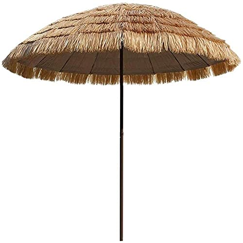 WSDSX Parasoles Jardin,Paraguas Tiki Redondo de 6 pies Que imita la Paja UPF50 +, inclinación de 45 °, sombrilla de Playa Tropical Hawaiana, para Patio, jardín, Piscina, Color Natural, para exteri