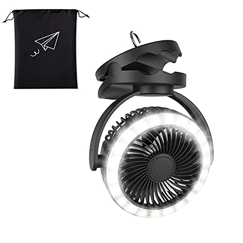 HMYLI Ventiladores de Camping Recargables con Luces, luz LED 10000mAh Ventilador de Tiendas de Clip con Gancho Colgante USB Recargable Ventilador portátil Ventilador portátil Al Aire Libre