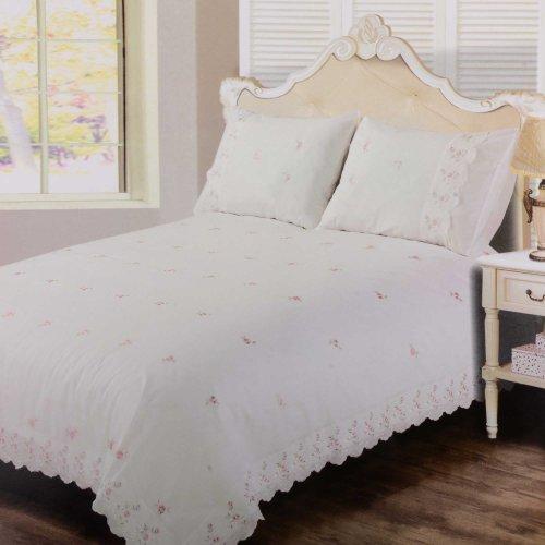 Sophie Bettbezug-Set, weiß, Spitze, bestickt–Einzel-Bettbezug und Kissenbezug