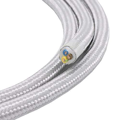 3m Textilkabel Silber 3-adrig 0,75mm² Stoffkabel für Pendel- und Hängeleuchten Stromkabel mit Stoff Lampenkabel