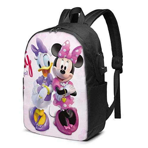 AOOEDM USB Backpack 17 in Daisy Duck Minnie Laptop Backpack- with USB Charging Port/Stylish Casual Waterproof Backpacks Fits Most 17/15.6 Inch Laptops and Tablets/for Work Travel School